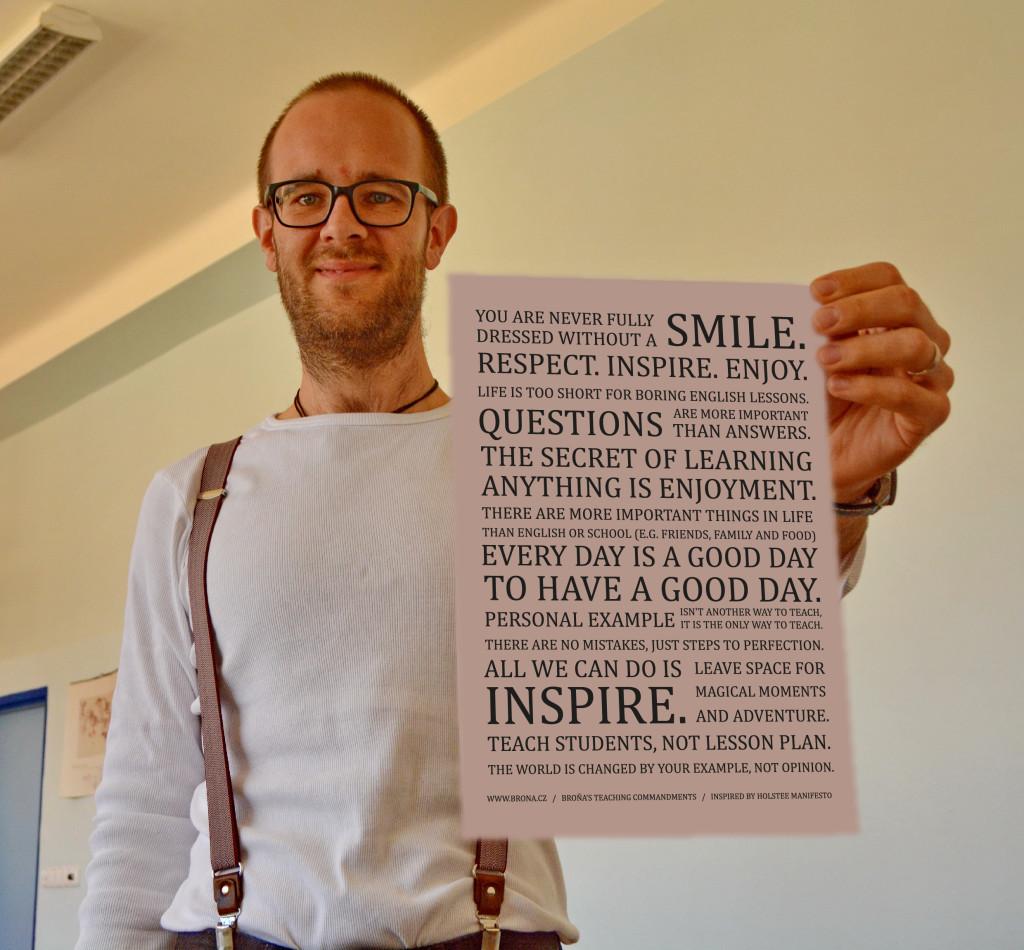 Brona and his teaching manifesto photoshoped